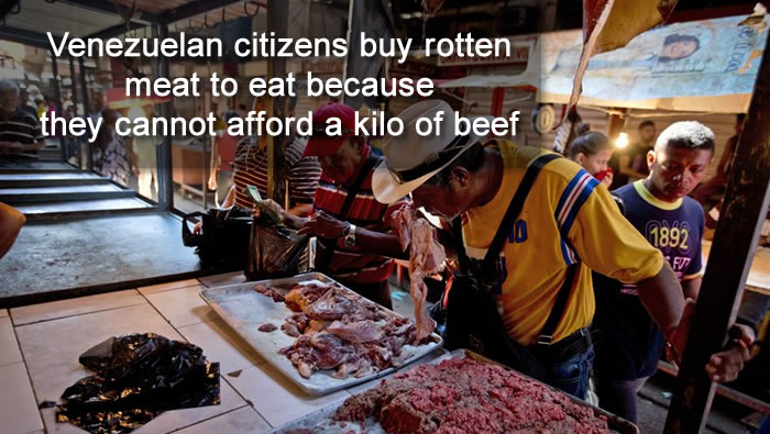 Venezuelans crisis increases as citizens buy rotten meat to eat because they cannot afford a kilo of beef
