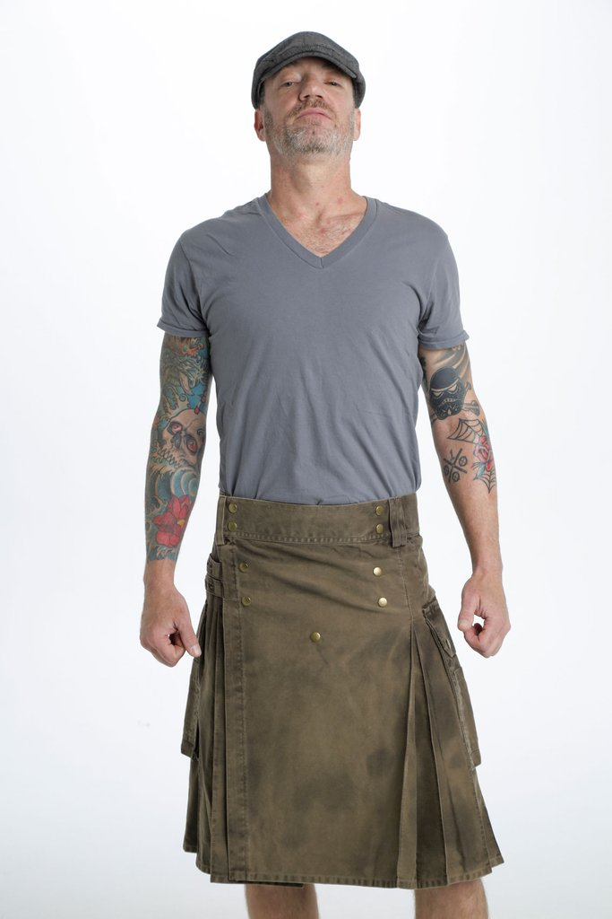 Stonewashed Cotton Utility Kilt For Men | Modern Kilt  Fashion Kilt